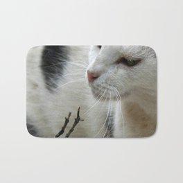 Close Up Of A Piebald Cat Bath Mat