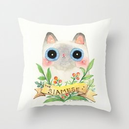 The Siamese Cat Throw Pillow