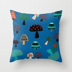 Cute Mushroom Blue Throw Pillow