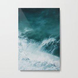 Teal Sea Waves Metal Print