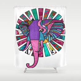 Pastel Purple African Colorful Elephant Shower Curtain