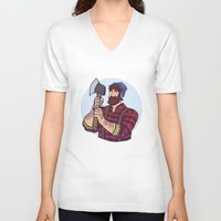 jack daniels V-neck T-shirts featuring Jack by Kasia Wo