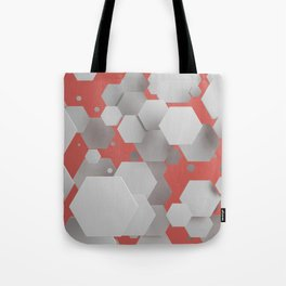 White hexagons on red Tote Bag