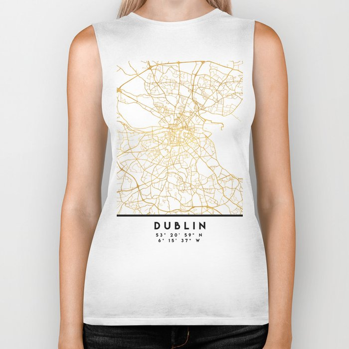 DUBLIN IRELAND CITY STREET MAP ART Biker Tank
