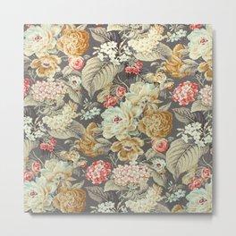 Gray Gold White Rose Pattern Metal Print