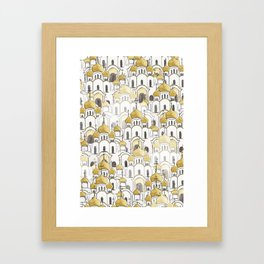golden Russian cathedral church pattern Framed Art Print