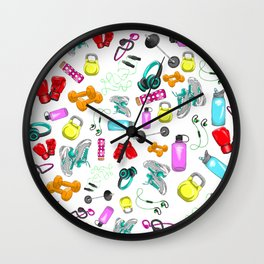 Work Out Items Pattern Wall Clock