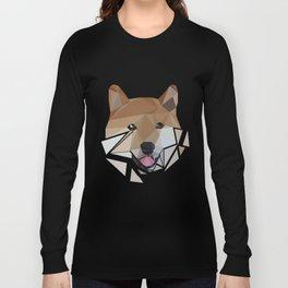 Low polygon shiba inu face Long Sleeve T-shirt