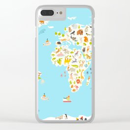 Animals world map. Beautiful cheerful colorful vector illustration for children and kids. Preschool, Clear iPhone Case