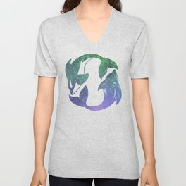 SWim Free Whale and Dolphin Unisex V-Neck