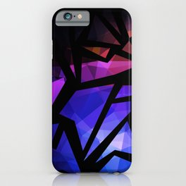 Abstract print of triangles polygon print. Bright dark design colors iPhone Case