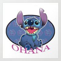 ohana Art Prints featuring Ohana by Une Belle Pagaille
