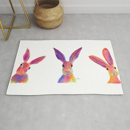 HaRe RaBBiT BuNNY PRiNT ' THe HaPPY HaReS ' BY SHiRLeY MacARTHuR Rug