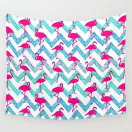 Go Flamingo! Tropical Pink Neon Flamingos Teal Glitter Chevron Wall Tapestry