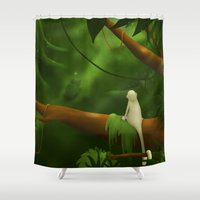 jungle Shower Curtains featuring Jungle by Ramona Treffers