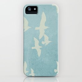 Birds on Blue - flying seagulls iPhone Case