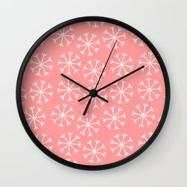 Modern hand painted coral white Christmas snow flakes Wall Clock