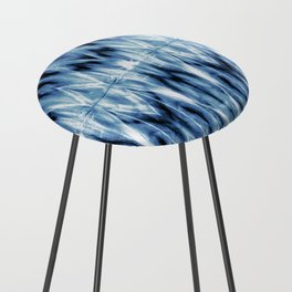 Blue Satin Shibori Argyle Counter Stool