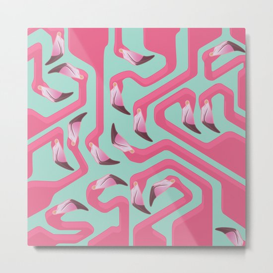 Flamingo Maze on beach glass background. Metal Print