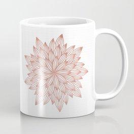 Mandala Flowery Rose Gold on White Coffee Mug