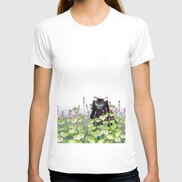 Watercolor cat in herb garden T-shirt