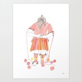 Knitster Girl Sweater & Socks Art Print