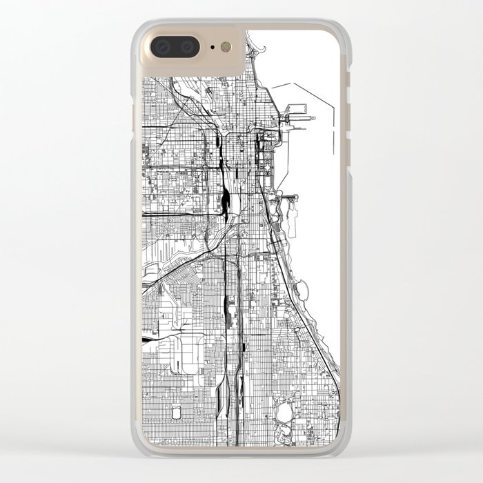 Chicago White Map Clear iPhone Case