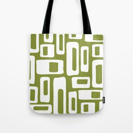 Retro Mid Century Modern Abstract Pattern 335 Olive Green Tote Bag