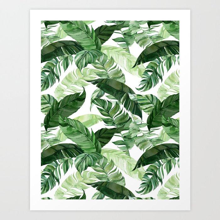 Green leaf watercolor pattern Kunstdrucke