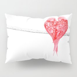Red Heart Birds Love Pillow Sham