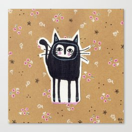 Black Cat Floral Canvas Print