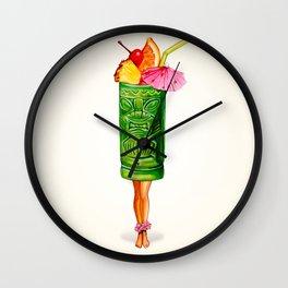 Tiki Cocktail Pin-Up - Tiki Mug Wall Clock