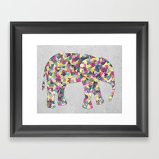 Elephant Collage in Gray Hot Pink Teal and Yellow Framed Art Print