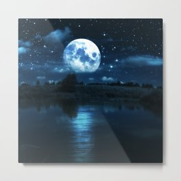 Rural forest near a river night landscape with full moon Metal Print