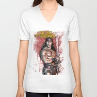 conan V-neck T-shirts featuring Crush your enemies by Lady Rat
