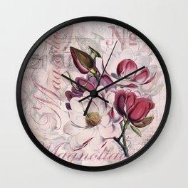 Vintage Magnolia flower illustration Wall Clock
