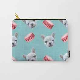 French Bulldog and macaroon pattern (Raspberry) Carry-All Pouch