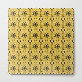Primrose Yellow Floral Geometric Pattern Metal Print