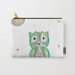 Owl Fun #5 #mint #green #gold #drawing #decor #art #society6 Carry-All Pouch