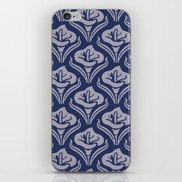 Calla Lily Pattern Blue and Gray iPhone Skin