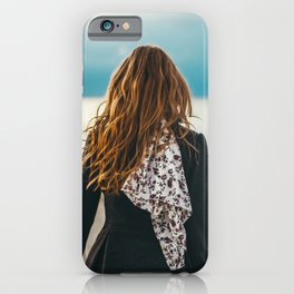 Curly Hair | Girl | Travel | Traveler | Sea | Vibes | Ginger | Outdoors | Lifestyle | Wind in my hair | Blue sky  iPhone Case