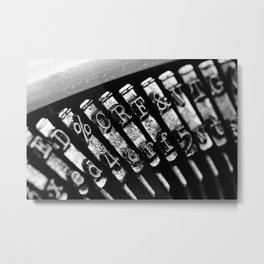 Typewriter characters and letters black and white photograph Metal Print