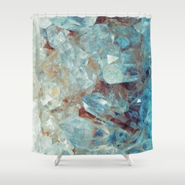 Heavenly Blue Quartz Crystal Shower Curtain
