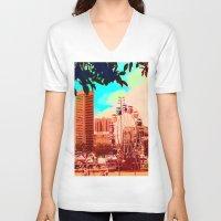 ferris wheel V-neck T-shirts featuring Baltimore Ferris Wheel by kiersten patron