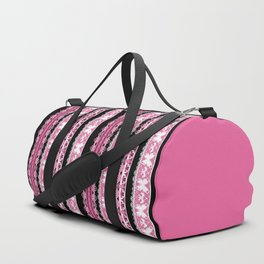 Black and pink striped pattern . Duffle Bag