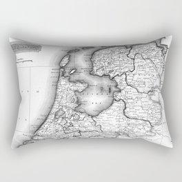 Vintage Map of Holland (1817) BW Rectangular Pillow