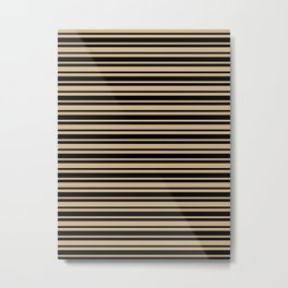 Tan Brown and Black Horizontal Var Size Stripes Metal Print