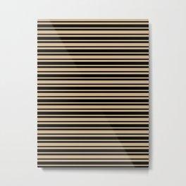 Tan Brown and Black Horizontal Var Size Stripes Metal Print