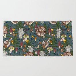 mushroom forest Beach Towel