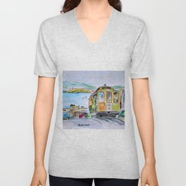 San Francisco Cable Car watercolor Unisex V-Neck